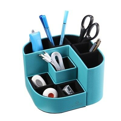 Desk Organizer 7 Storage Compartments Multifunctional PU Leather Blue