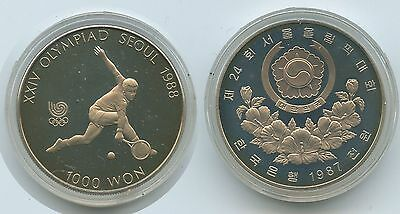 G7223 - Südkorea 1000 Won 1987 KM#47 Olympia Seoul 1988 Tennis PROOF