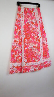 Vintage 70s The Lilly Lilly Pulitzer orange pink white maxi skirt
