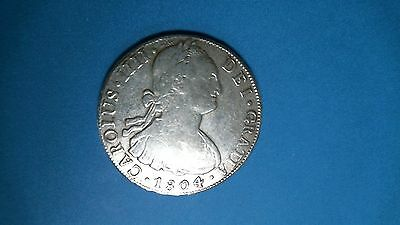 1804  P.t.s.  P.j. Bolivia 8 Reales Silver Coin
