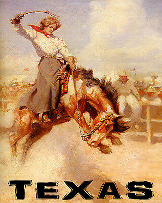 Poster Texas Rodeo Bronc Riding Horse Cowgirl Sport Usa Vintage Repro Free S/H