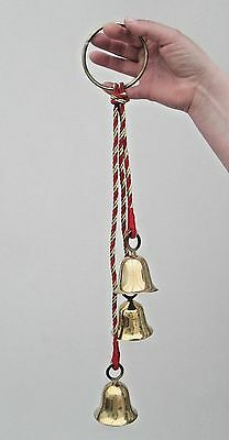 Nepalese Buddhist Wind Chime - 3 Brass Bells With A Round Brass Handle