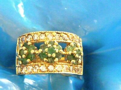 Vintage Sterling Silver Natural Mined Fine Emeralds And Cz Ring Band Sz  6.75