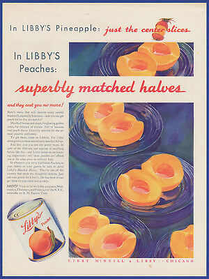 Vintage 1931 LIBBY'S Canned Peaches Libby McNeill Print Ad 30's