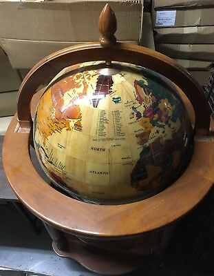 Floor Globe With Brown Wood Finish Stand + Free Shipping