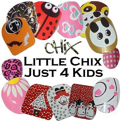 LITTLE CHIX Vinyl Nail Wraps Fingers Toes Salon Decal Foils Stickers Fun Designs