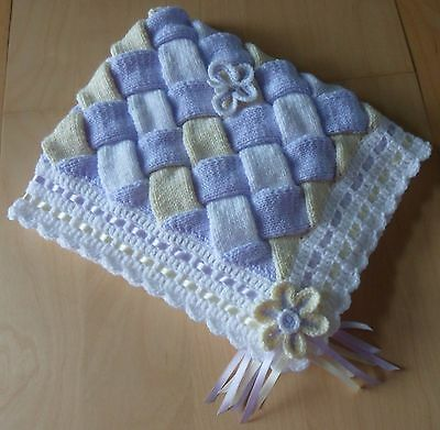 UNIQUE Hand Knitted & Crocheted Baby Blanket with Flowers & Butterflies