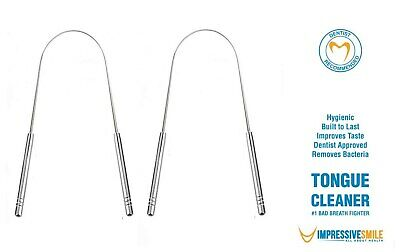 Impressive Smile Tongue Cleaner Surgical Grade Stainless Steel (2 PACK)