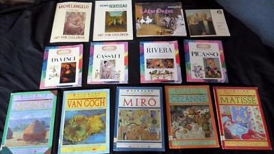 13 PRIMARY TEACHER CHILDREN ART ARTIST BOOK LOT DaVinci Picasso Raboff Set
