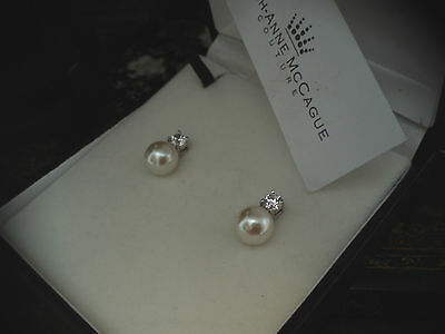 Man Made Brilliant Round Cut Diamond & Pearl Stud Screw  Earrings 925 Silver.