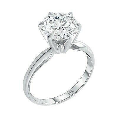 3 Ct Round Cut Solitaire Engagement Wedding Promise Ring Solid 14K White Gold