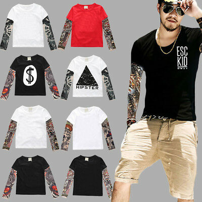 Mens Boys Slim Fit Round neck Long Sleeve Tattoo Print Casual T-shirt Top Tees
