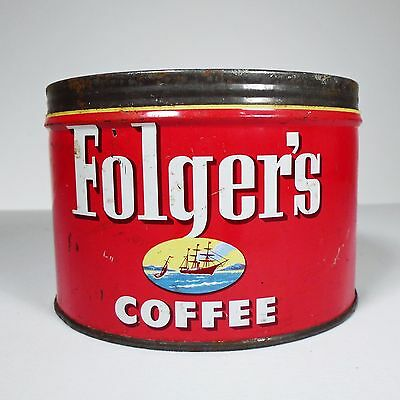 VINTAGE FOLGER'S COFFEE CAN ~1LB. ~CIRCA MID 1950's ~ *COLLECTIBLE ADVERTISING*