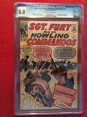 Sgt Fury And His Howling Commandos #3 Cgc 8.0 Stan Lee Jack Kirby Marvel Comics
