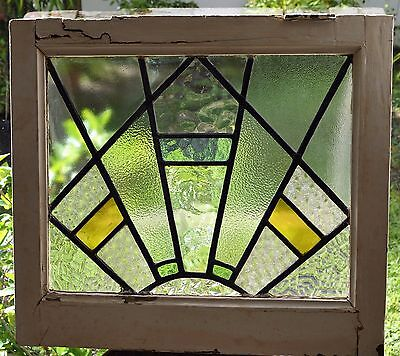 Antique Leaded English Stained Glass Window Wood Frame England Old House 6
