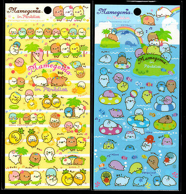 San-x Mamegoma in Paradise Summer Seal Stickers Sticker Sheet LOT Kawaii Japan