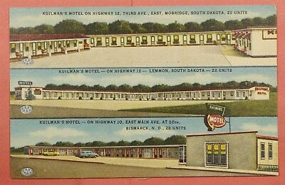 Vintage Pc Kuilman's Hotel Advertising North & South Dakota Nd Sd Post Card