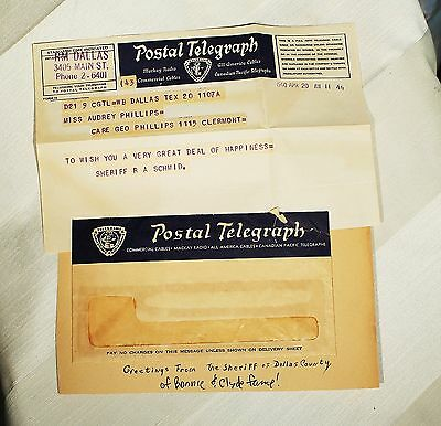 Rare Telegram 1940 DALLAS SHERIFF R A SCHMID OF BONNY AND CLYDE FAME