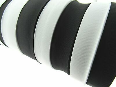 Woven Flat Elastic in Black or White - Choose Your Width and Length