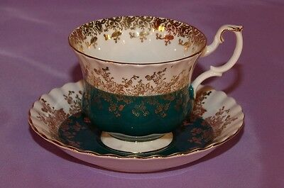 Royal Albert English Bone China Teacup & Saucer Duo ☆ Regal Series Teal Green