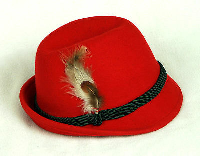 RED Wool Barvarian Oktoberfest Alpine Hat  with Feather with cording  - size 58