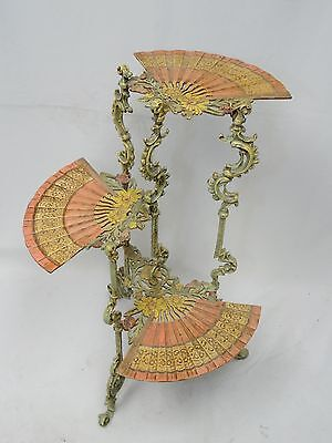Antique 3 Tiered Enameled Iron Chinoiserie Side Table Plant Stand
