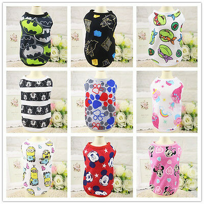 Dog Pet Clothes Cartoon Multi-Color Style Vest Optional Small Puppy Cat T-shirt