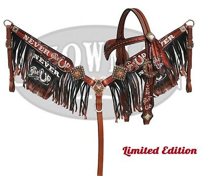 """Showman """" Never Give Up"""" Copper Painted Headstall & Breast Collar Fringe Set!"""
