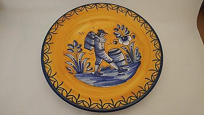 "De La Cal Barreira Puente Spanish Art Pottery Majolica 12"" Plate Man With Barrel"