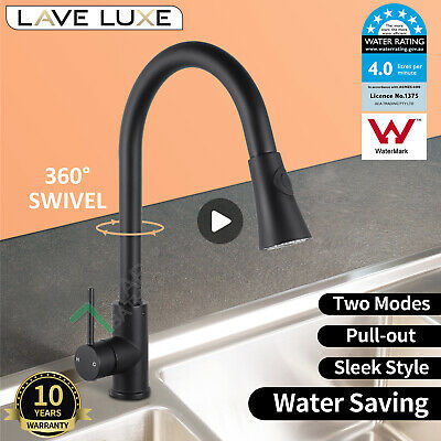 WELS Black Gooseneck Swivel Spout Kitchen Sink Mixer Tap Laundry Basin Faucet