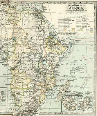 African continent Exploration routes Island insets 1897 antique detailed map
