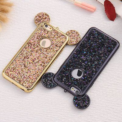 Bling Glitter Mouse Ear Soft TPU Protective Case Cover For iPhone XS Max 8 Plus