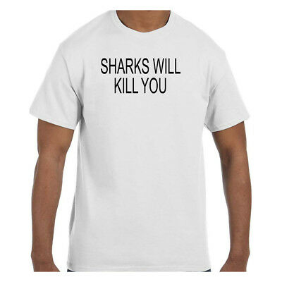 6170e1f6 SHARKS WILL KILL You Funny Mens Tank Top Animal College Party ...