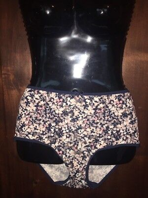 c431f5871 Delta Burke blue pink peach floral brief panty knickers sissy plus size 9 2X
