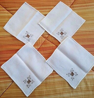 """Four reticella embroidered cocktail napkins 6 1/4"""" x 6 1/2"""" vintage"""