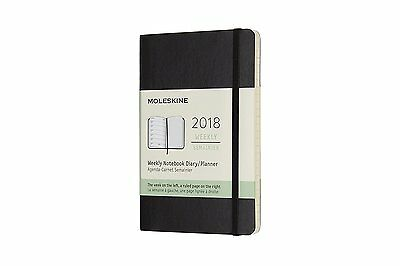 2018 Moleskine Pocket Weekly Notebook Diary Soft Cover Black NEW Free Post