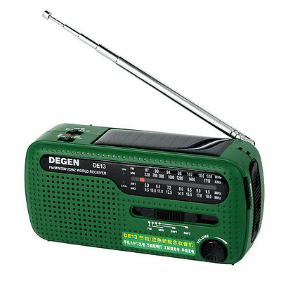Hot DEGEN DE13 FM MW SW Crank Dynamo Solar Emergency Radio World Receiver LED