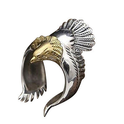 Men Punk Gothic Vintage Silver Stainless Steel Cool Ring-EAGLE Retro Gift Jewery