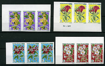 1971 Congo Flowers , Fiori , Imperforated Mnh Yvert 283/88 E440