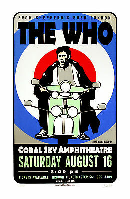 The Who 1997 Original Silkscreen Concert Poster Uncle Charlie Art S/N
