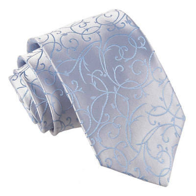 DQT Woven Swirl Patterned Baby Blue Formal Wedding Mens Classic Tie