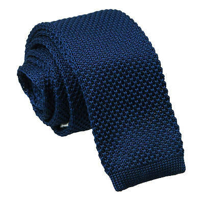 DQT Knit Knitted Plain Solid Navy Blue Casual Mens Skinny Tie