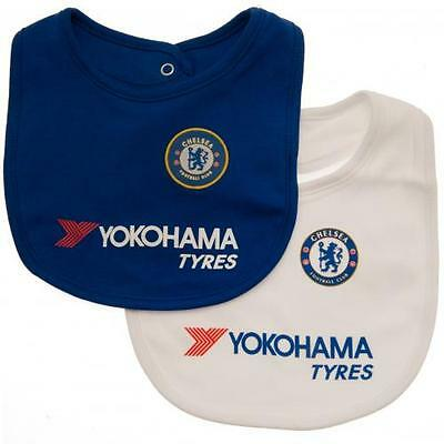 Chelsea FC Babies Feeding Bibs Twin Pack Official CFC Baby Clothing 100% cotton