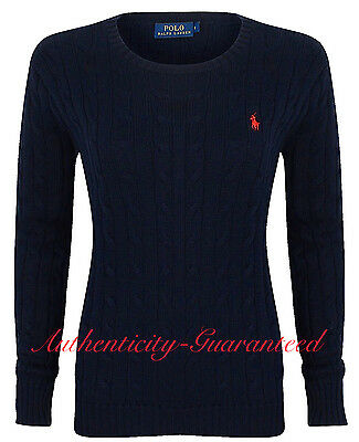 7c11cbf07 Ralph Lauren Women s Ladies Cable Knit Cotton Crew Jumper Navy XS - XL RRP  £120