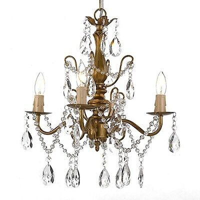 Wrought Iron Chandelier Crystal Ceiling Fixture Gold Hanging Pendant Lamp Swag 4