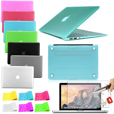 """Hard Shell Top Bottom Cover Case Keyboard Tempered Glass For Macbook Pro 13"""" 15"""""""