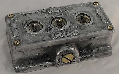 Vintage Industrial Cast Metal 3 Gang Retrofit Light Switch - BS EN Approved