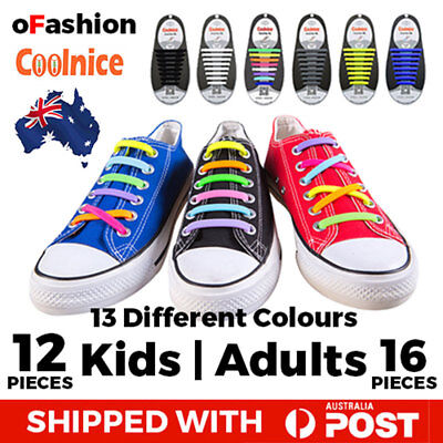 No Tie Shoelaces Elastic Silicone Shoe Lace Kids Adult Sneakers Runners Coolnice
