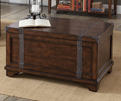 Storage Trunk Chest Coffee Table Cedar Cocktail Accent Top Toys Blanket Wood Oak