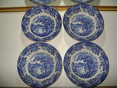4 x Blue/White China Breakfast Bowls BROADHUST STAFFORDSHIRE Ironstone England